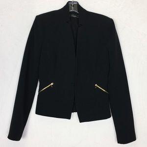 Zara Trafaluc Black Gold Zip Blazer Jacket Size S
